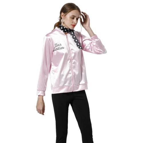 Grease Jacke Damen Pink Lady Jacke 50er Jahre Kostüm Rock Roll Lady mit Schal