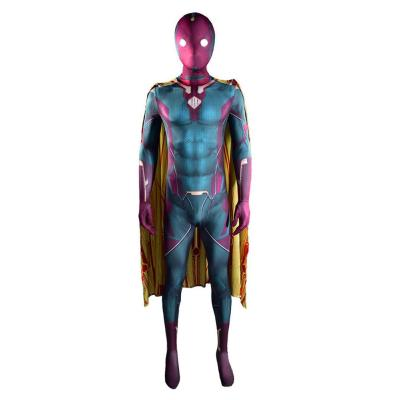 WandaVision -Vision 3D Druck Jumpsuit mit Umhang Cosplay Kostüm Halloween Karneval Kostüm