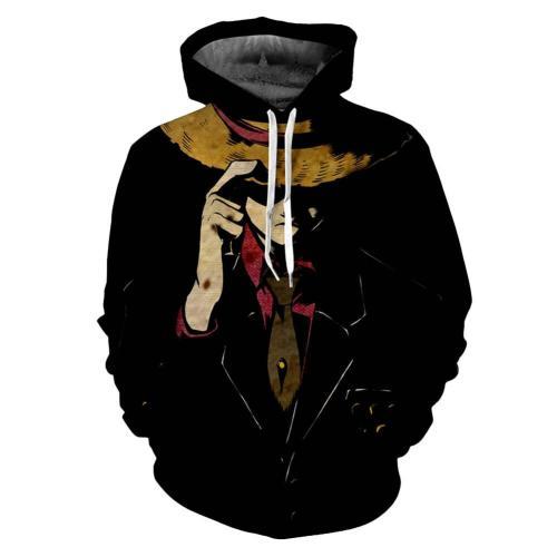 One Piece Monkey D. Ruffy Hoodie Hooded Pullover mit Kaputze Erwachsene Unisex