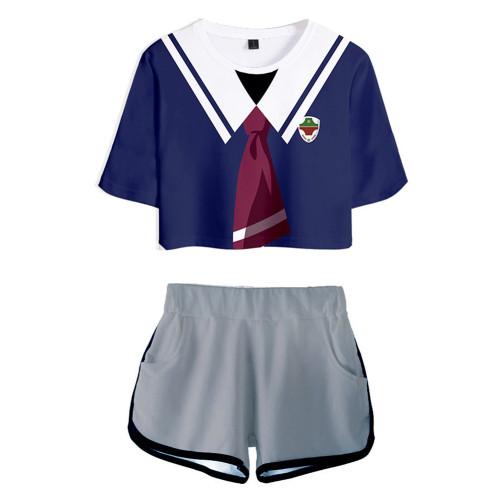 SK8 The Infinity - Miya T-Shirt Oberteil Shorts 2 tlg Sommer Outfits Set für Erwachsene