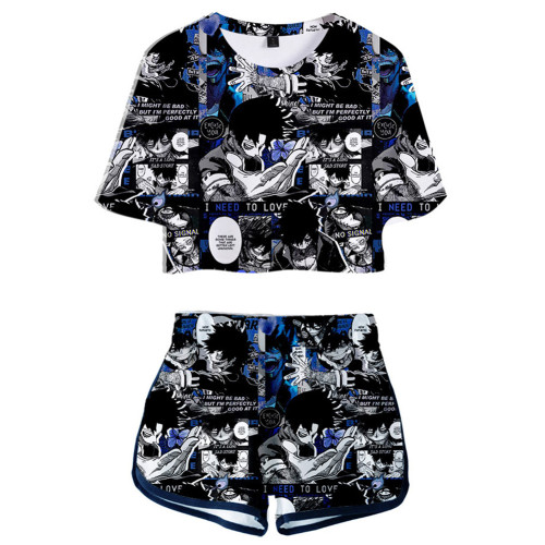 Damen Dabi My Hero Academia 3D Druck Sommer T Shirt Shorts 2tlg Set