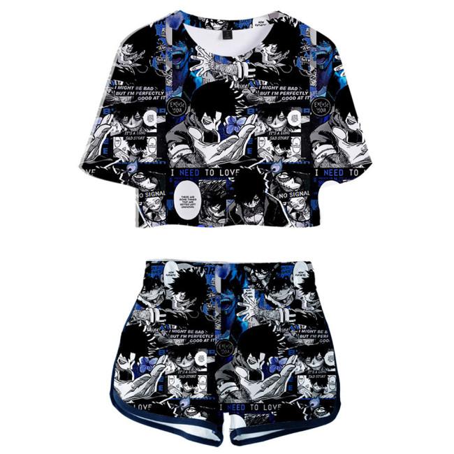 Damen Dabi My Hero Academia 3D Druck Sommer T Shirt Shorts 2tlg Set