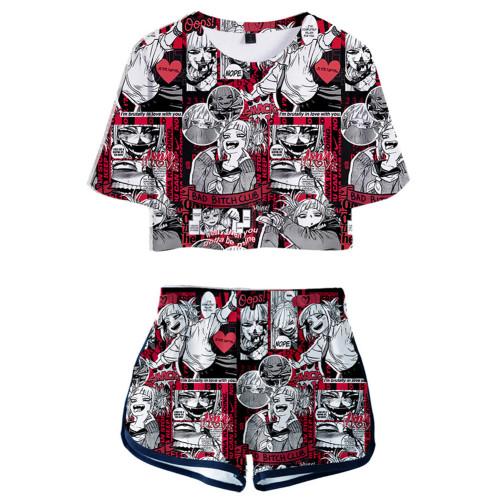 Damen Himiko Toga My Hero Academia 3D Druck Sommer T Shirt Shorts 2tlg Set