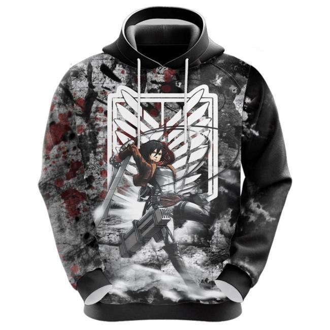 Attack on Titan Mikasa Ackermann Hoodie 3D Druck Sweatshirt Erwachsene Pullover mit Kaputze