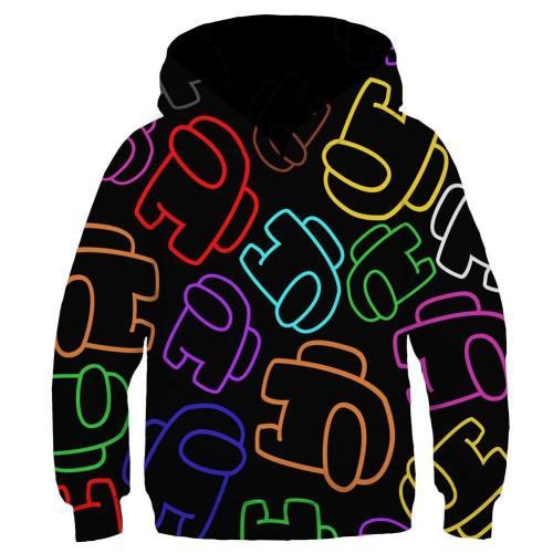 Among us Cosplay Hoodie 3D Druck Kinder Sweatshirt Kinder Pullover mit Kaputze Schwarz für Alltag
