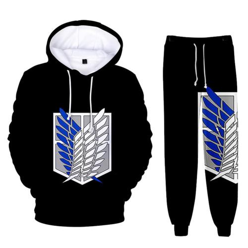 Attack on Titan Hoodie 3D Druck Sweatshirt Joggen Set Erwachsene Unisex Pullover Jogginghose