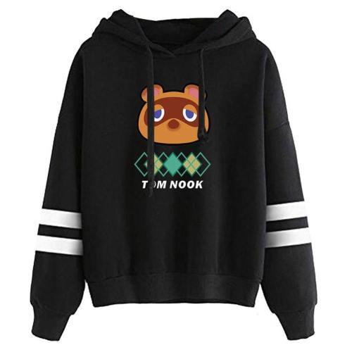 Animal Crossing Tom Nook Druck Pullover Erwachsene Sweatshirt Schwarz Hoodie Pulli