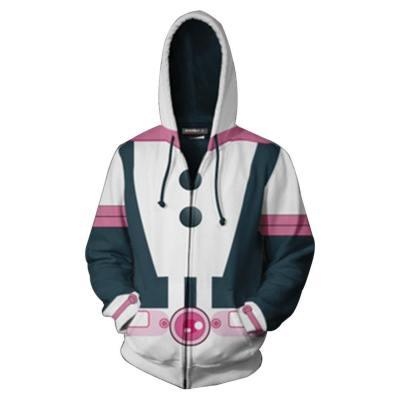 Anime My Hero Academia Boku no Hero Akademia Ochako Uraraka Hoodie Jacke mit Reißverschluss Pullover mit Kaputze Sweatshirt