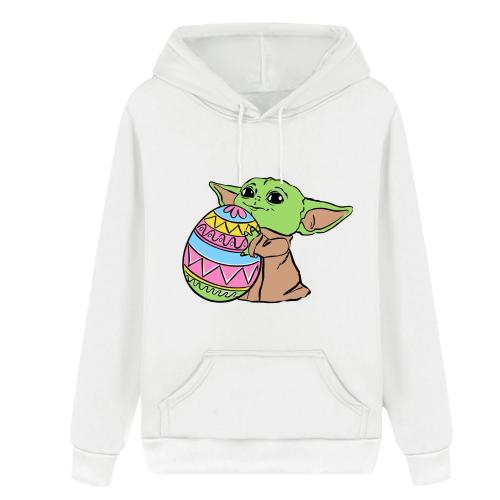 Ostern Baby Yoda Happy Easter Osterei Druck Hoodie Pullover mit Kaputze Hooded Kaputzepullover Erwachsene Weiß Pulli