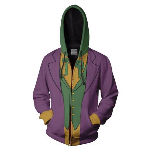 Batman: Arkham City Joker Hoodie Pullover mit Kaputze Jacke mit Reißverschluss Erwachsene 3D Druck