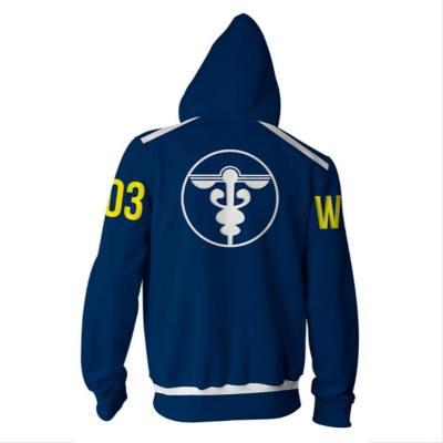 Anime Psycho-Pass Hoodie Jacke mit Reißverschluss Pullover mit Kaputze Sweatshirt Blau