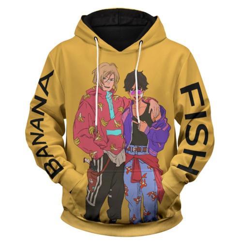 Banana Fish Hoodie 3D Druck Sweatshirt Erwachsene Pullover mit Kaputze für Alltag