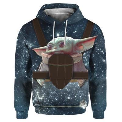 Baby Yoda Hoodie 3D Druck Sweatshirt Erwachsen Pullover mit Kaputze