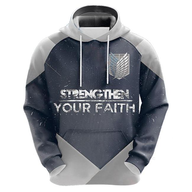 Attack on Titan Hoodie 3D Druck STRENGTHEN YOUR FAITH Sweatshirt Erwachsene Pullover