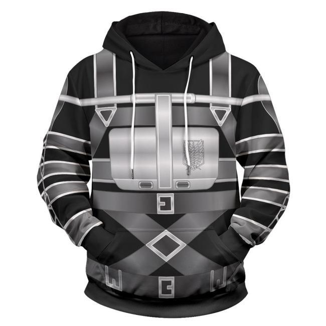 Attack on Titan Cosplay Hoodie 3D Druck Sweatshirt Pullover mit Kaputze Erwachsene Pulli