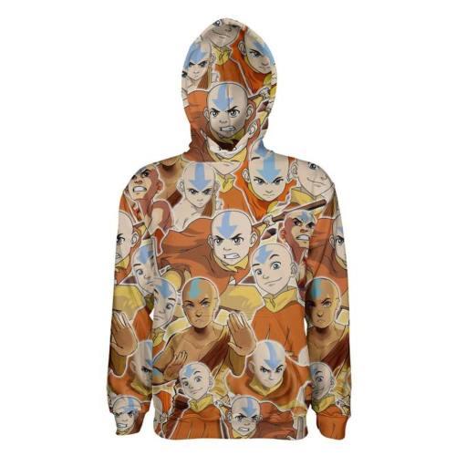 Avatar: The Last Airbender Aang 3D Druck Hoodie Sweatshirt Erwachsene Pullover mit Kaputze Aang Pulli