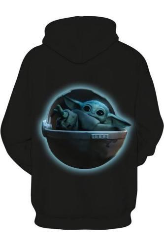 Baby Yoda The Mandalorian Star Wars Yoda Hoodie Pullover mit Kaputze Pulli Kaputzepullover Erwachsene Schwarz