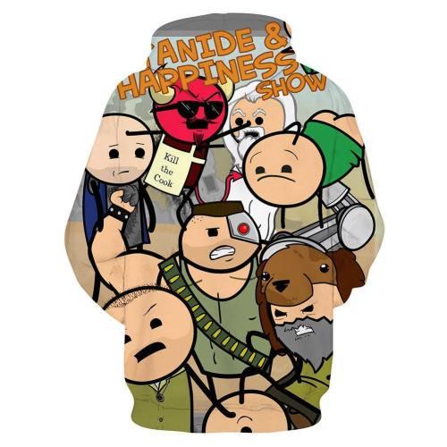 3D Druck Hoodie Cyanide & Happiness Erwachsene Hooded Sweatshirt Pulli Kaputzepullover