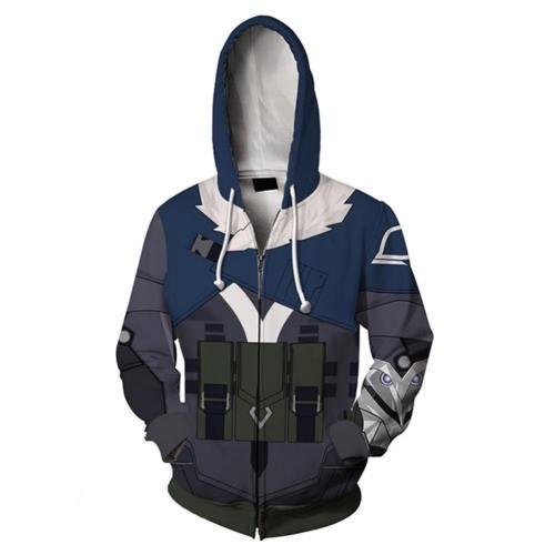 Aufspürer Sova Valorant Initiator Sova Hoodie Erwachsene Jacke mit Reißverschluss Kaputzepullover