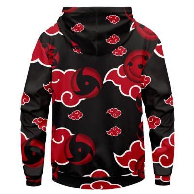 Naruto Cosplay Hoodie Hooded Sweatshirts Pullover mit Kaputze für Erwachsene Schwarz Rot