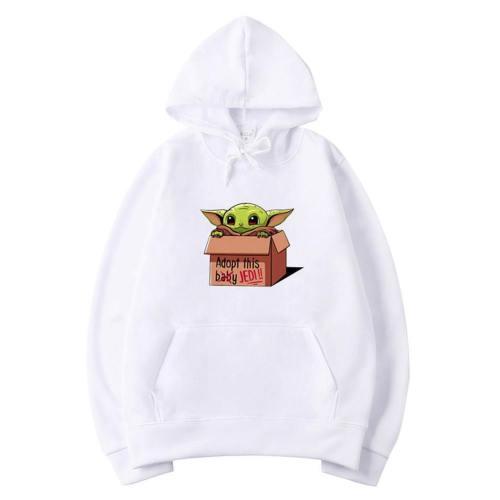 Baby Yoda The Mandalorian Yoda Hoodie Sweatshirt Pullover mit Kaputze für Erwachsene Weiß