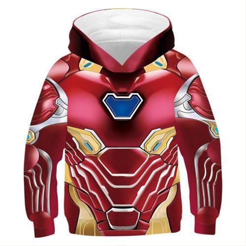 Avengers 4 Endgame Avengers: Infinity War - Part II Tony Stark Iron Man Hoodie Jacke mit Reißverschluss Pullover mit Kaputze Sweatshirt für Kinder Jungen Mädchen
