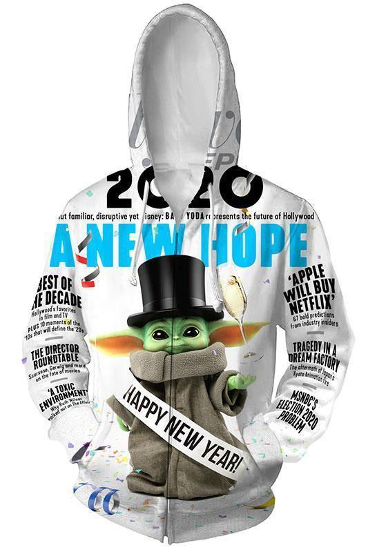 Baby Yoda The Mandalorian Hoodie Pullover mit Kaputze Hooded Jacke mit Reißverschluss Erwachsene 3D Druck