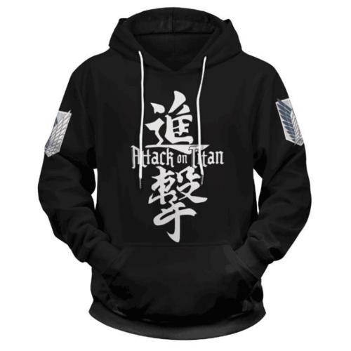 Anime Attack on Titan Cosplay Hoodie 3D Druck Sweatshirt Erwachsene Pullover mit Kaputze für Alltag