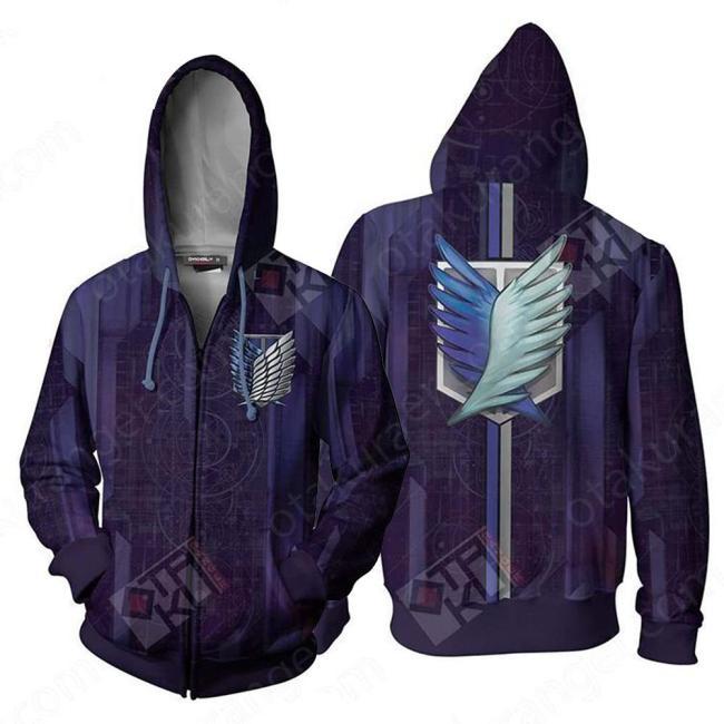 Attack on Titan Cosplay Hoodie 3D Druck SCOUTING LEGION Sweatshirt Jacke für Erwachsene blau