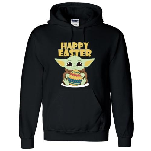 2020 Ostern Baby Yoda Happy Easter Osterei Druck Hoodie Pullover mit Kaputze Hooded Kaputzepullover Erwachsene