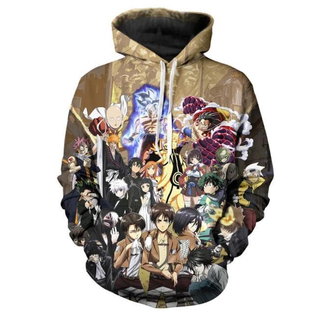 Anime Hooded My Hero Academia Attack on Titan One Punchman Cosplay Hooded Sweatshirt Pullover mit Kaputze für Erwachsene