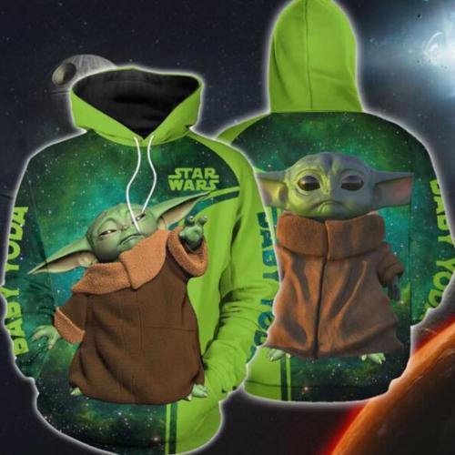 Baby Yoda Cosplay Hoodie 3D Druck Unisex Sweatshirt Pullover mit Kaputze für Erwachsene
