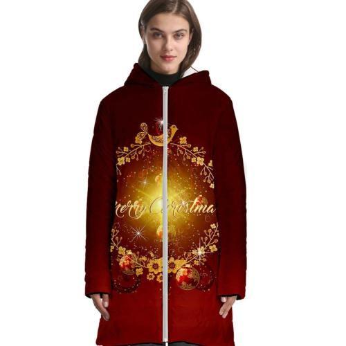 3D Druck Weihnachten Erwachsene Langarm Hoodie Jacke mit Kaputze Winterjacke Daunenjacke für Alltag