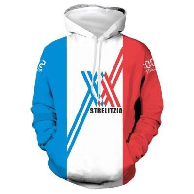 Hoodie Darling In The Franxx 02 Zero Two Cosplay Hooded Sweatshirt Pullover mit Kaputze Erwachsene Unisex