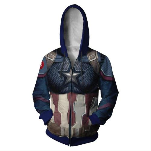 Avengers 4 Endgame Avengers: Infinity War - Part II Steve Rogers Captain America Hoodie Jacke mit Reißverschluss Pullover mit Kaputze Sweatshirt