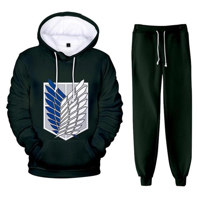 Attack on Titan 3D Druck Sweatshirt Pullover Jogginghose Joggen Set für Erwachsene grün Version