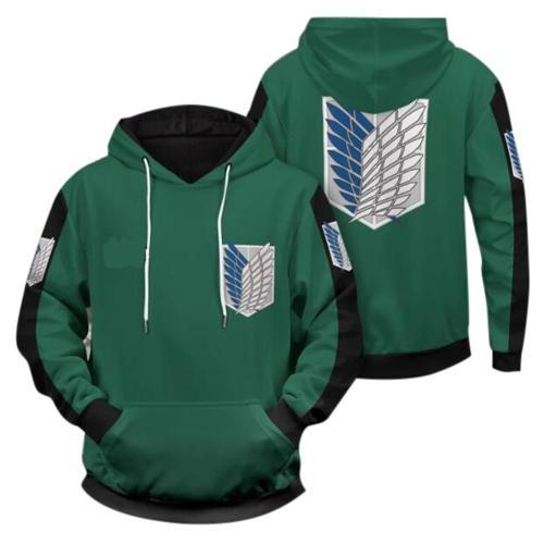 Attack on Titan Cosplay Hoodie 3D Druck Sweatshirt Erwachsene Pullover mit Kaputze für Alltag