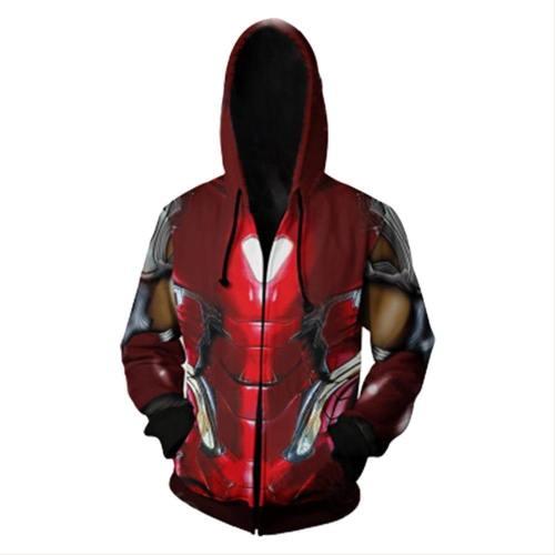 Avengers 4 Endgame Avengers: Infinity War - Part II Tony Stark Iron Man Hoodie Jacke mit Reißverschluss Pullover mit Kaputze Sweatshirt
