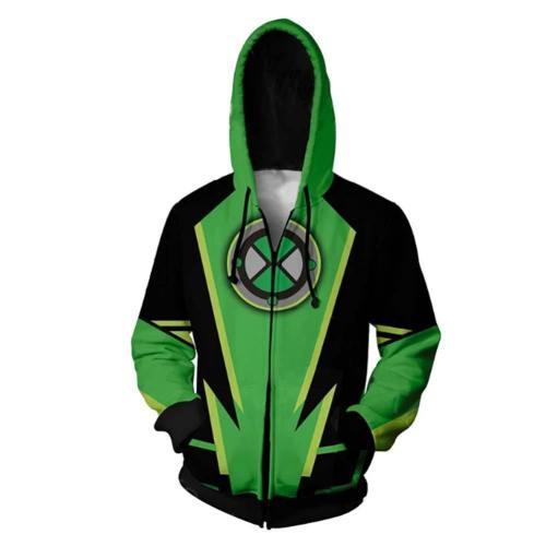 Ben 10 Hoodie Jacke mit Reißverschluss Pullover mit Kaputze Sweatshirt Grün