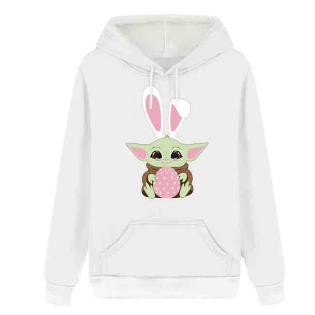 Ostern Baby Yoda Happy Easter Osterhase Druck Hoodie Pullover mit Kaputze Hooded Kaputzepullover Erwachsene Weiß Pulli