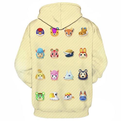 Animal Crossing Village Druck Hoodie Top Erwachsene Hooded Sweatshirt Pullover