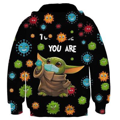 Baby Yoda Cosplay Hoodie 3D Druck Sweatshirt Kinder Pullover mit Kaputze für Frühling