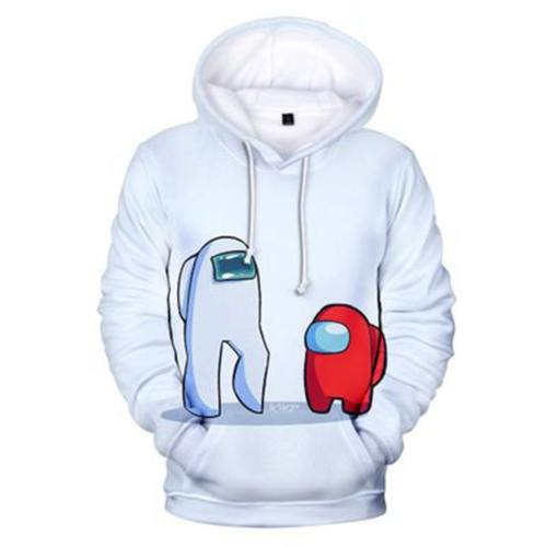 Among us Hoodie Hooded Sweatshirt Pullover Erwachsene weiß Pulli für Alltag