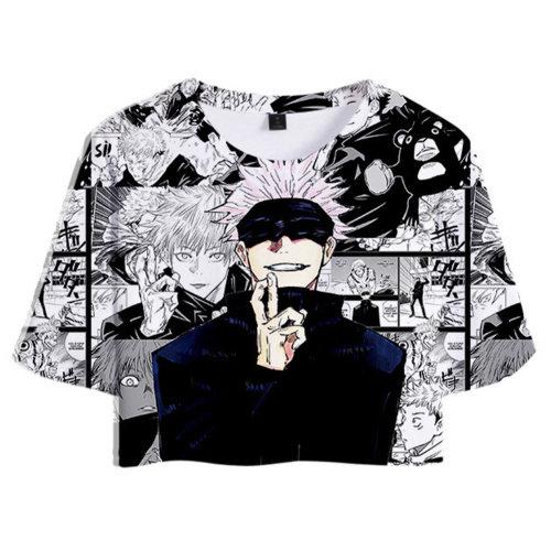 Gojo Satoru Jujutsu Kaisen Gojo Satoru Unisex T-Shirt Sommer T shirt Obertei mit Shorts 2tlg für Alltag