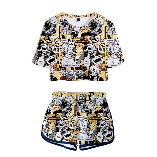 Damen Kaminari Denki My Hero Academia 3D Druck Sommer T Shirt Shorts 2tlg Set