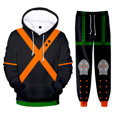 My Hero Academia Boku no Hero Akademia Katsuki Bakugou 3D Druck Sweatshirt Pullover Jogginghose Joggen Set für Erwachsene