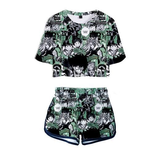 Damen Midoriya Izuku My Hero Academia 3D Druck Sommer T Shirt Shorts 2tlg Set