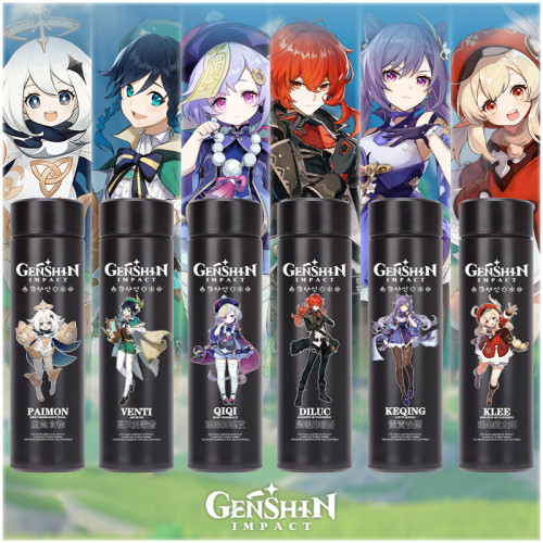 500ml Genshin Impact Thermobecher Ganyu Klee Keqin Pamon Isolierbecher Edelstahl-Reisebecher