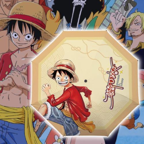 One Piece Monkey D. Luffy Regenschirm Winddicht Wasserdicht UV-Schutz Tragbar Taschenschirm