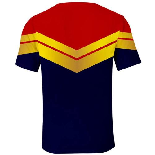 Avengers 4 Superheld Captain Marvel Carol Danvers T-Shirt Hemd Oberteil Kurzarm Rundhals Print Erwachsene